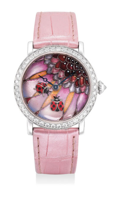 """Cartier, 'A fine and attractive lady's limited edition white gold wristwatch with """"Ladybug"""" cloisonné enamel dial, diamond-set bezel, Certificate of Origin and box, numbered 10 of a limited edition of 30 pieces', 2012"""