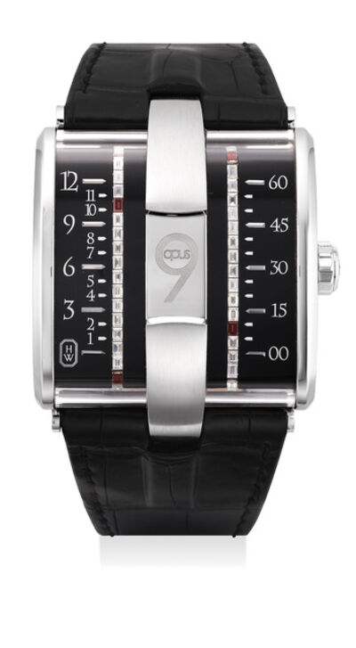 Harry Winston, 'A very fine and rare limited edition white gold, diamond-and-garnet-set wristwatch with belt time indicators, international warranty and presentation box, numbered 50 of a limited edition of 100 pieces', Circa 2009