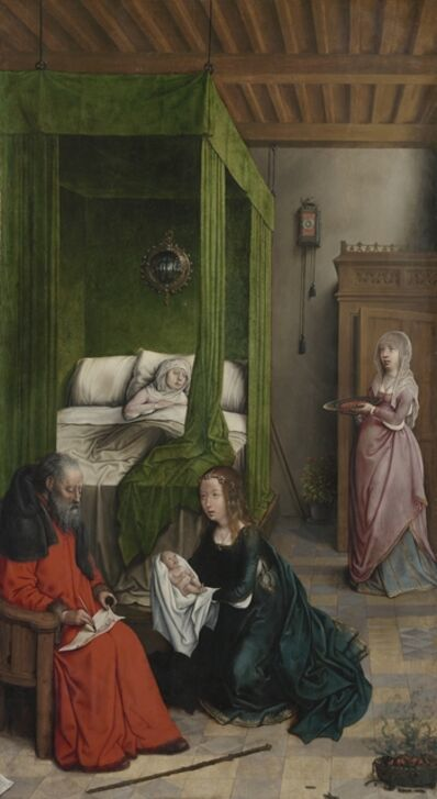 Juan de Flandes, 'The Birth and Naming of John the Baptist', 1496-1499