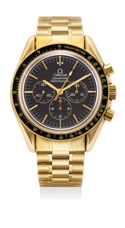 OMEGA, 'A fine and rare limited edition yellow gold chronograph wristwatch with bracelet, guarantee and box, numbered 772 of a limited edition of 999 pieces', 1992