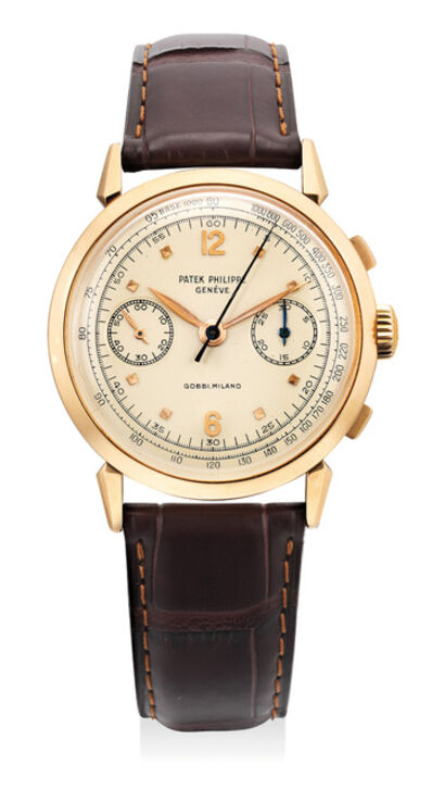 Patek Philippe, 'A very attractive and very rare pink gold chronograph wristwatch with spider lugs and tachymeter scale, retailed by Gobbi, Milano', 1956