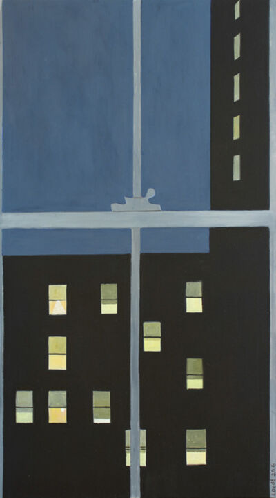 Lois Dodd, 'Men's Hotel with 11 Windows Lit', 2016