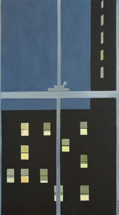 Lois Dodd, 'Men's Hotel with 11 Windows Lit', 2016