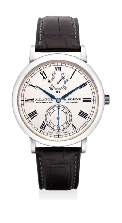 A. Lange & Söhne, 'A very fine and rare platinum wristwatch with power reserve indication, zero-reset feature, guarantee and box, numbered 14 of a limited edition of 100 pieces', Circa 2007