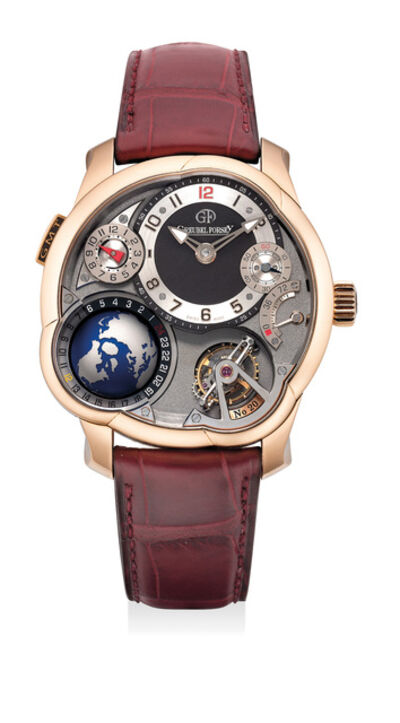 Greubel Forsey, 'A superlative and unusual pink gold worldtime and dual-time wristwatch with power reserve indication, tourbillon regulator, warranty and box', Circa 2013