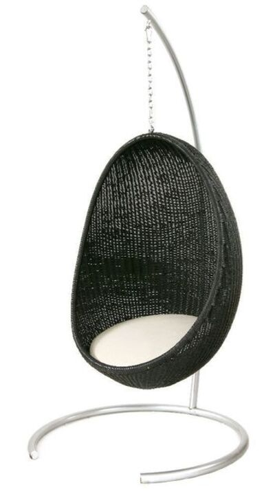 Nanna Ditzel, 'An egg-shaped black rattan hanging chair'