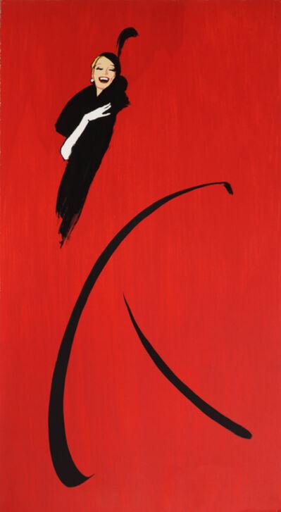 René Gruau, 'Woman in Black Dress', ca. 1970