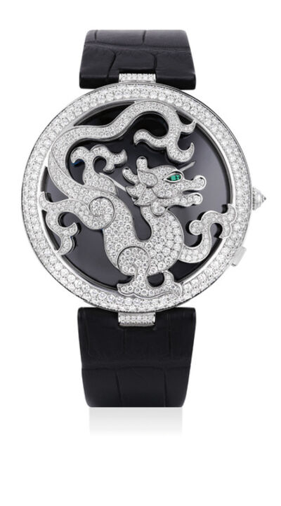 Cartier, 'An elegant and rare limited edition white gold, emerald and diamond-set wristwatch with openwork case of dragon motif, mother-of-pearl dial, Certificate of Origin and box, numbered 7 of a limited edition of 150 pieces', Circa 2010