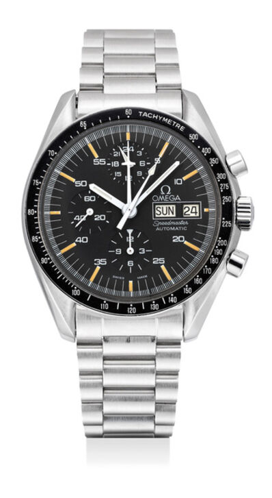 OMEGA, 'A fine and very rare stainless steel chronograph wristwatch with day, date, bracelet and box', 1988