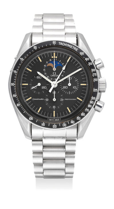 OMEGA, 'A fine and rare stainless steel chronograph wristwatch with bracelet, date, moon phases and box', 1988