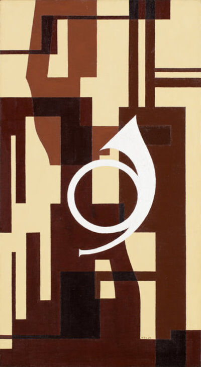 Otto Gustaf Carlsund, 'Fuga i brunt – Projekt till väggmålning för musikrum (Fugue in brown - Project to mural for musicroom)', 1934