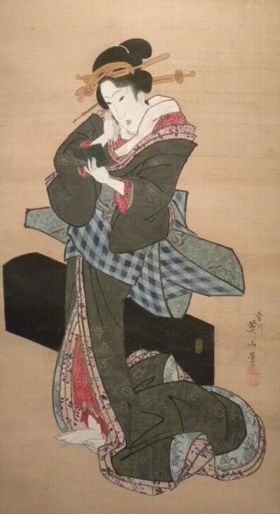 Kikukawa Eizan, 'Standing Geisha Holding a Hand Mirror', ca. 1818-30