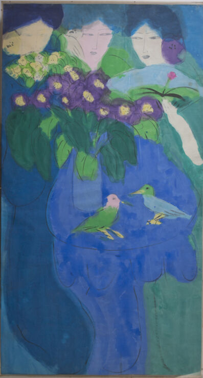 Walasse Ting 丁雄泉, 'Three ladies, two birds', 1980