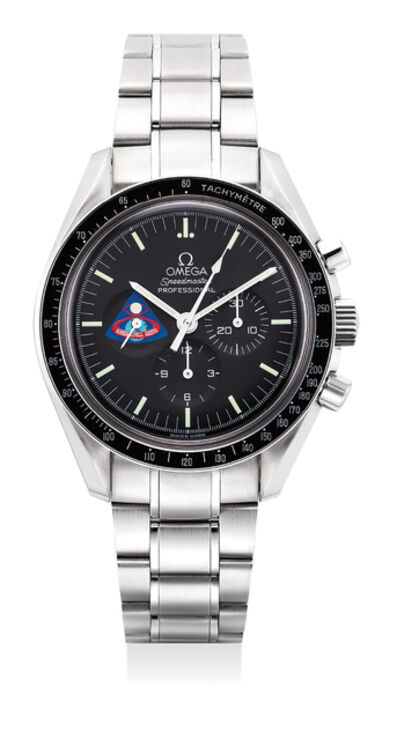 OMEGA, 'A fine and rare stainless steel chronograph wristwatch with bracelet, International Warranty, commemoration badge and presentation box, made to commemorate the Apollo VIII mission', Circa 1998