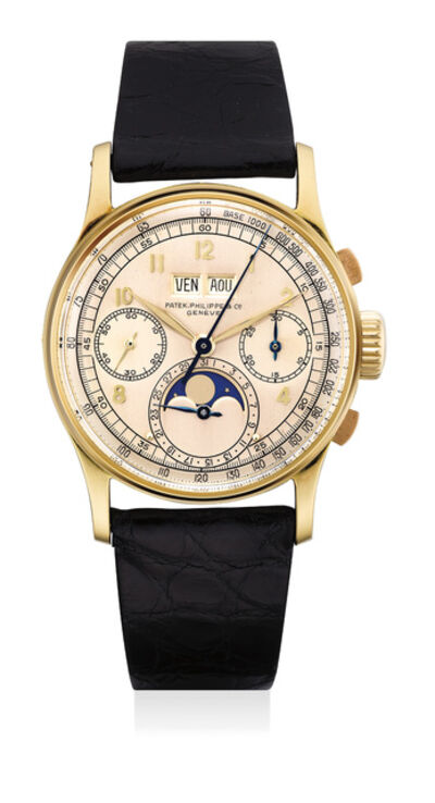 Patek Philippe, 'An important, rare and attractive yellow gold perpetual calendar chronograph with moonphases', 1944