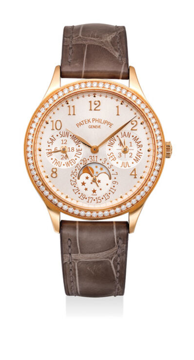 Patek Philippe, 'A fine and attractive lady's pink gold perpetual calendar wristwatch with diamond-set bezel and buckle, silvery-white dial, moon phases, leap year and 24-hour indications, Certificate of Origin and winding box', Circa 2014