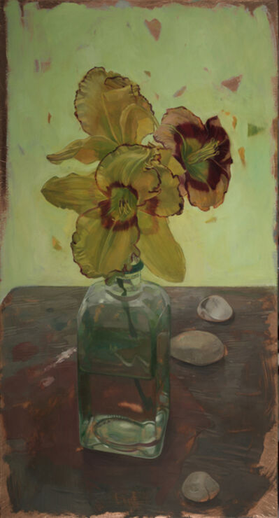 Benjamin J. Shamback, 'Day  Lilies on Wooden Table', 2017