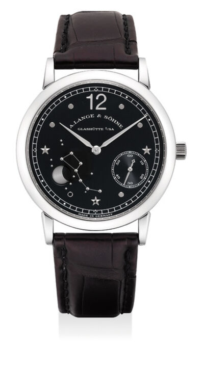 A. Lange & Söhne, 'A fine and rare limited edition platinum astronomical wristwatch with moon phases, guarantee and box, numbered 108 of a limited edition of 150 pieces, made to commemorate 150th anniversary of Emil Lange's birth', Circa 1999