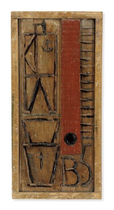 Joaquín Torres-García, 'Wood panel with red sripe', 1932