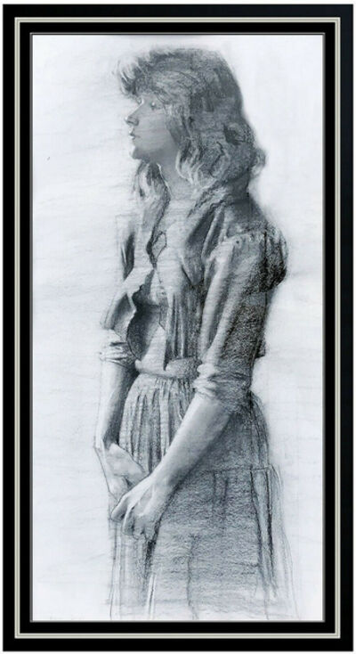 Daniel Sprick, 'Daniel Sprick Original Charcoal Drawing Female Portrait Signed Illustration Art', 1983