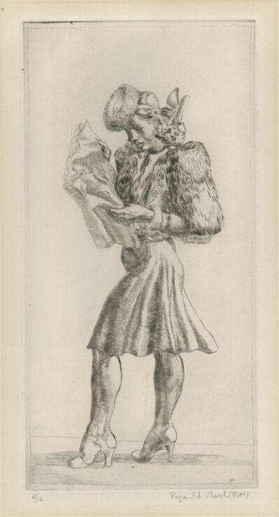 Reginald Marsh, 'Girl in Fur Jacket Reading Tabloid', 1940