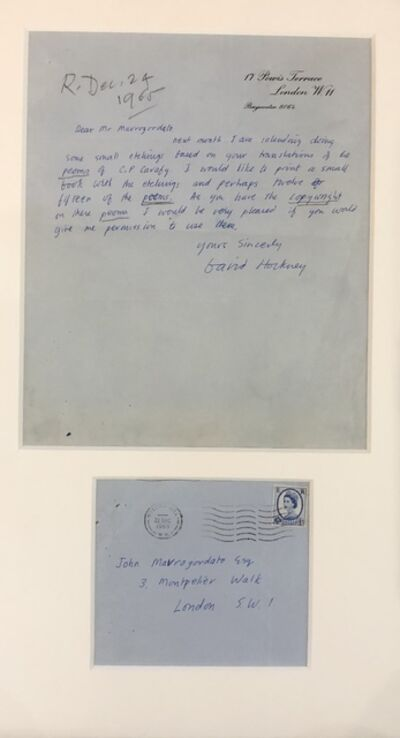 David Hockney, 'A signed letter by David Hockney on his intention to create the Cavafy Etchings', 1965