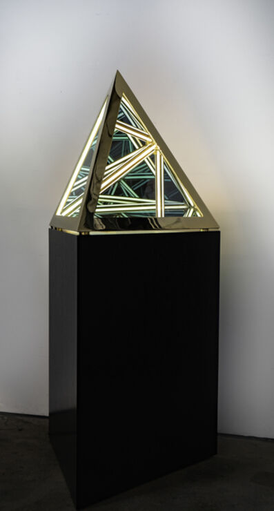 "Anthony James, '24"" Tetrahedron (Gold)', 2020"