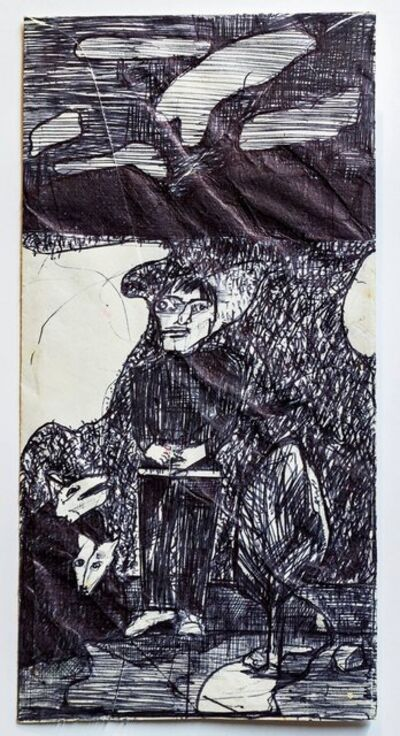 Marc Baseman, 'Standing figure, 1992 Ballpoint Ink Drawing on an Envelope (Phone Bill)', 1990-1999