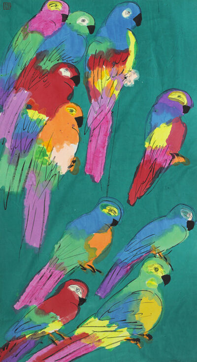 Walasse Ting 丁雄泉, 'Ten Colourful Parrots', 1980-1989