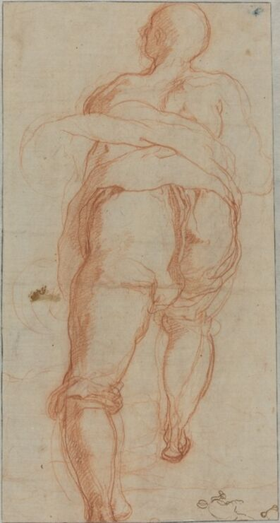 Taddeo Zuccaro, 'A Man Seen from Behind [verso]', ca. 1555