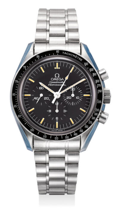 OMEGA, 'An attractive and well-preserved stainless steel chronograph wristwatch with bracelet, international warranty and presentation box', Circa 1995