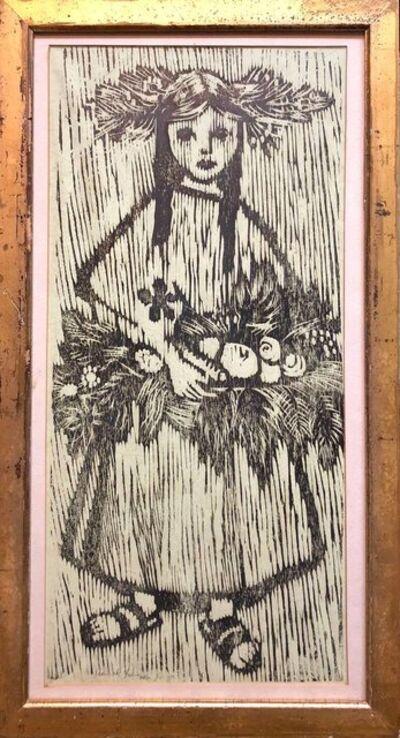 Hannah Yakin, 'Unique Woodcut Print Girl with Flowers Monoprint Israeli Dutch Woman Artist', 1960-1969
