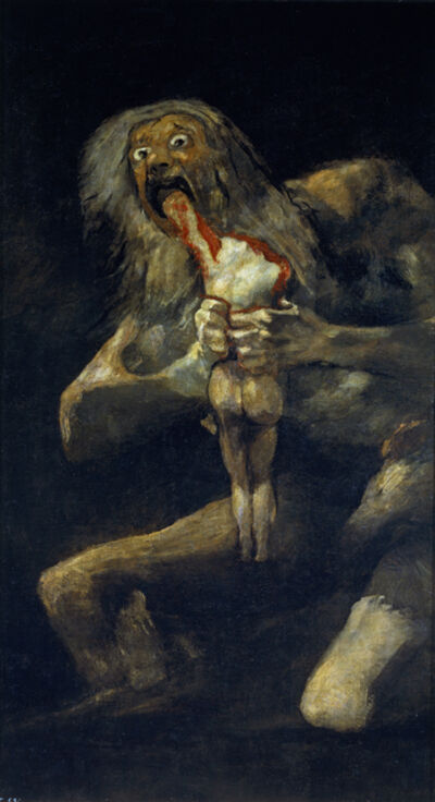 Francisco de Goya, 'Saturn Devouring One of His Sons. (From the series of Black Paintings.)', 1819-1823