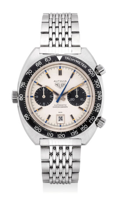 Heuer, 'A very rare and fine stainless steel chronograph wristwatch with ''Jo Siffert'' dial, date and bracelet', Circa 1970s