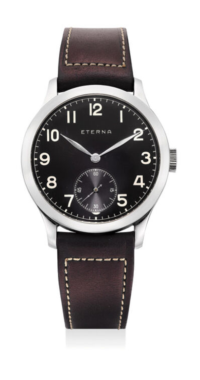 Eterna, 'Anattractive stainless steel wristwatch with black dial', Circa 1937