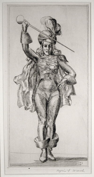 Reginald Marsh, 'Drum Majorette', 1940