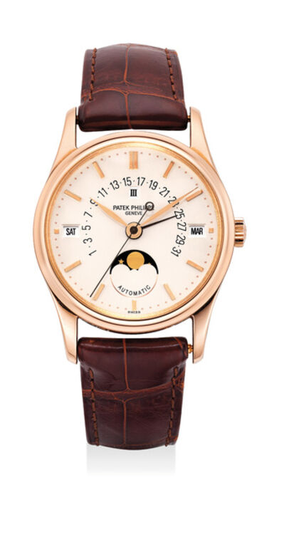 Patek Philippe, 'A very fine and attractive pink gold perpetual calendar wristwatch with center seconds, retrograde calendar, moon phase and leap year indication with certificate of origin, additional solid case back and setting pin', 1995