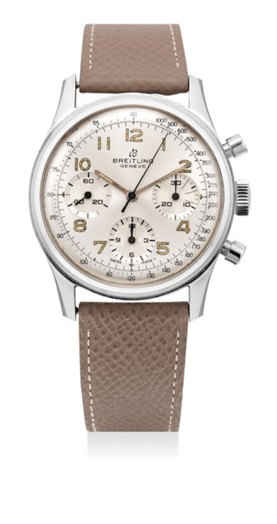 Breitling, 'A fine and rare stainless steel chronograph wristwatch with silvered dial, over-sized luminous Arabic numerals and screw back case', 1967