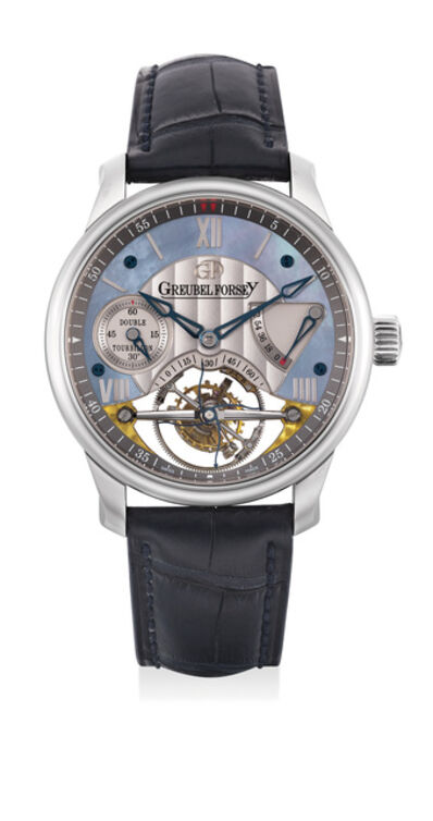 Greubel Forsey, 'A rare and exceptional platinum double tourbillon wristwatch with 72-hour power reserve and mother of pearl dial, with Greubel Forsey presentation box and certificate', 2009