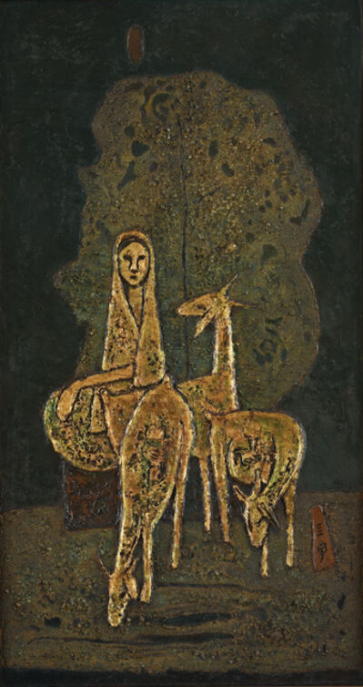 Cheong Soo Pieng, 'Malay Woman with Three Goats', 1972