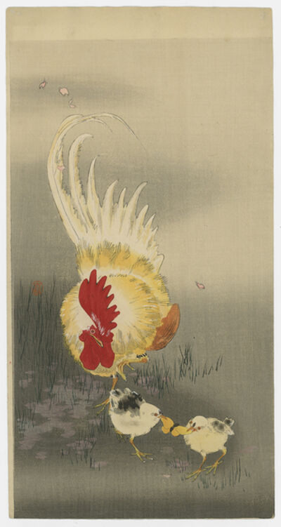 Ohara Koson, 'ROOSTER AND CHICKS'