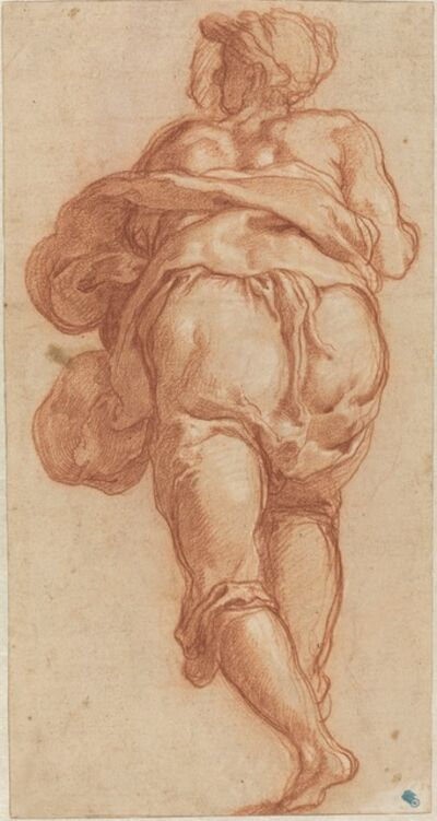 Taddeo Zuccaro, 'A Man Seen from Behind [recto]', ca. 1555