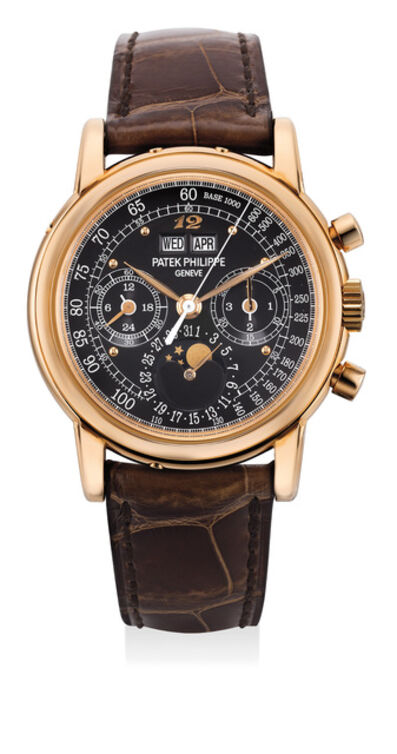 Patek Philippe, 'An extremely rare and highly attractive pink gold perpetual calendar chronograph wristwatch with black dial and Breguet numeral at the 12 o'clock, tachymeter scale, Certificate of Origin, presentation box and additional hard back', 2015
