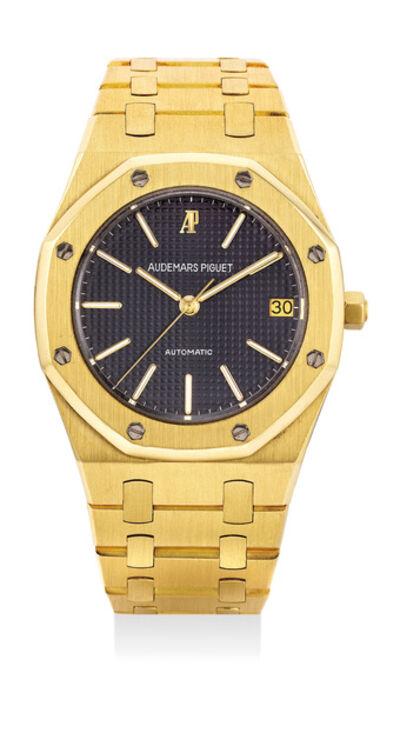 Audemars Piguet, 'A fine yellow gold wristwatch with center seconds, date, bracelet, certificate and box', 1980