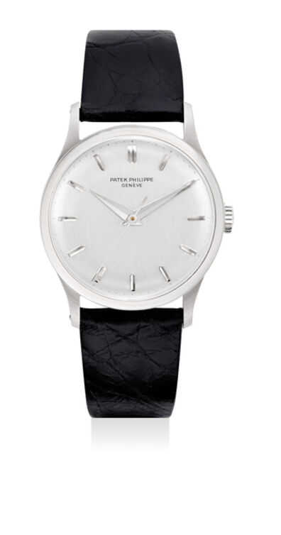Patek Philippe, 'A very fine and early white gold wristwatch with sweep center seconds and box', 1968