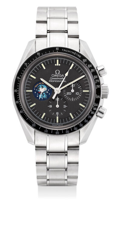 """OMEGA, 'A fine and rare limited edition stainless steel chronograph wristwatch with tachymeter scale, bracelet, warranty and box, numbered 328 of a limited edition of 5441 pieces, made to commemorate the """"Silver Snoopy Award"""" presented to Omega', Circa 2004"""
