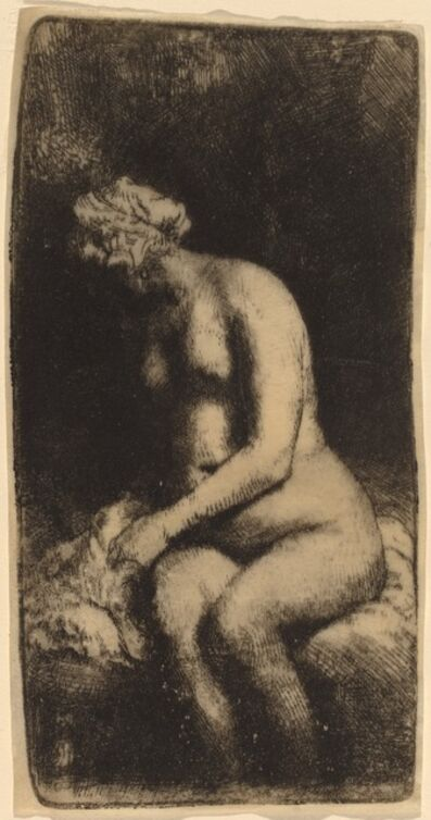 Rembrandt van Rijn, 'Nude Seated on a Bench with a Pillow (Woman Bathing Her Feet at a Brook)', 1658