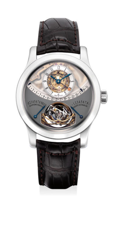 Jaeger LeCoultre, 'An extremely rare and highly complicated platinum perpetual calendar wristwatch with equation of time, power reserve indication, gyrotourbillon regulator, warranty and box, numbered 64 of a limited edition of 75 pieces', Circa 2010