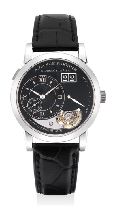 A. Lange & Söhne, 'An extremely fine and vary rare limited edition platinum tourbillon wristwatch with black enamel dial, date, hacking mechanism with guarantee and fitted presentation box, numbered 18 of a limited edition of 20 pieces', 2014