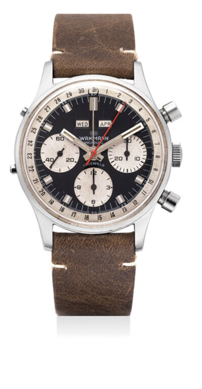 Wakmann, 'A fine stainless steel chronograph wristwatch with triple calendar', Circa 1960s